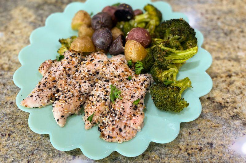 Everything Bagel Chicken & Veggie Sheet Pan Dinner